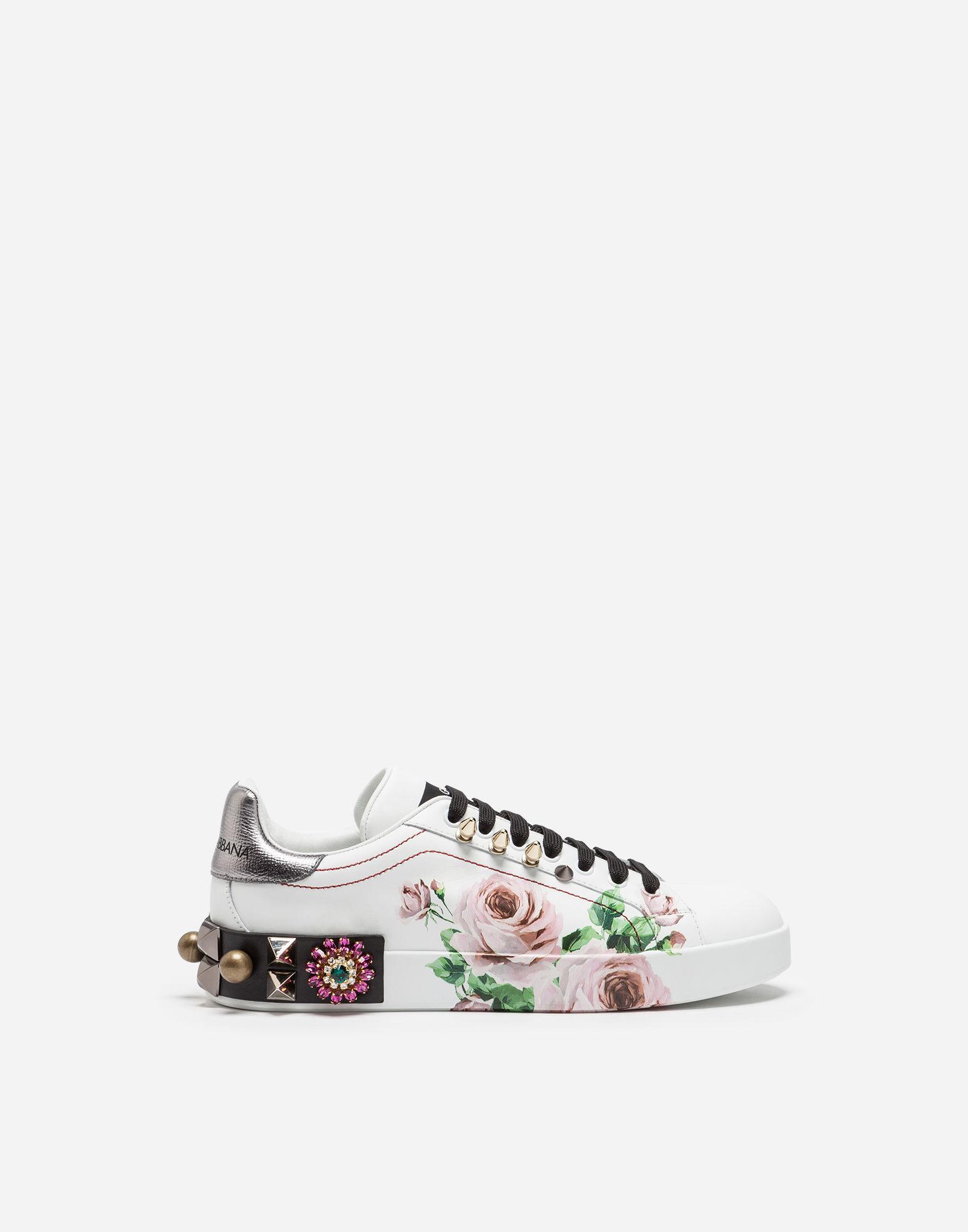 108aa25f1389 Dolce   Gabbana Portofino Sneakers In Printed Calfskin With AppliquÉS In  Hah41 Rosa