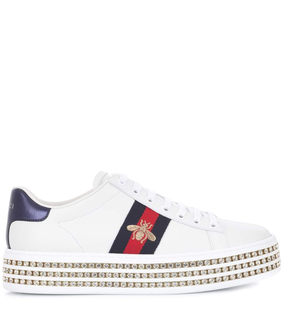 Gucci New Ace Crystal Bee-Embroidered Leather Sneakers In White