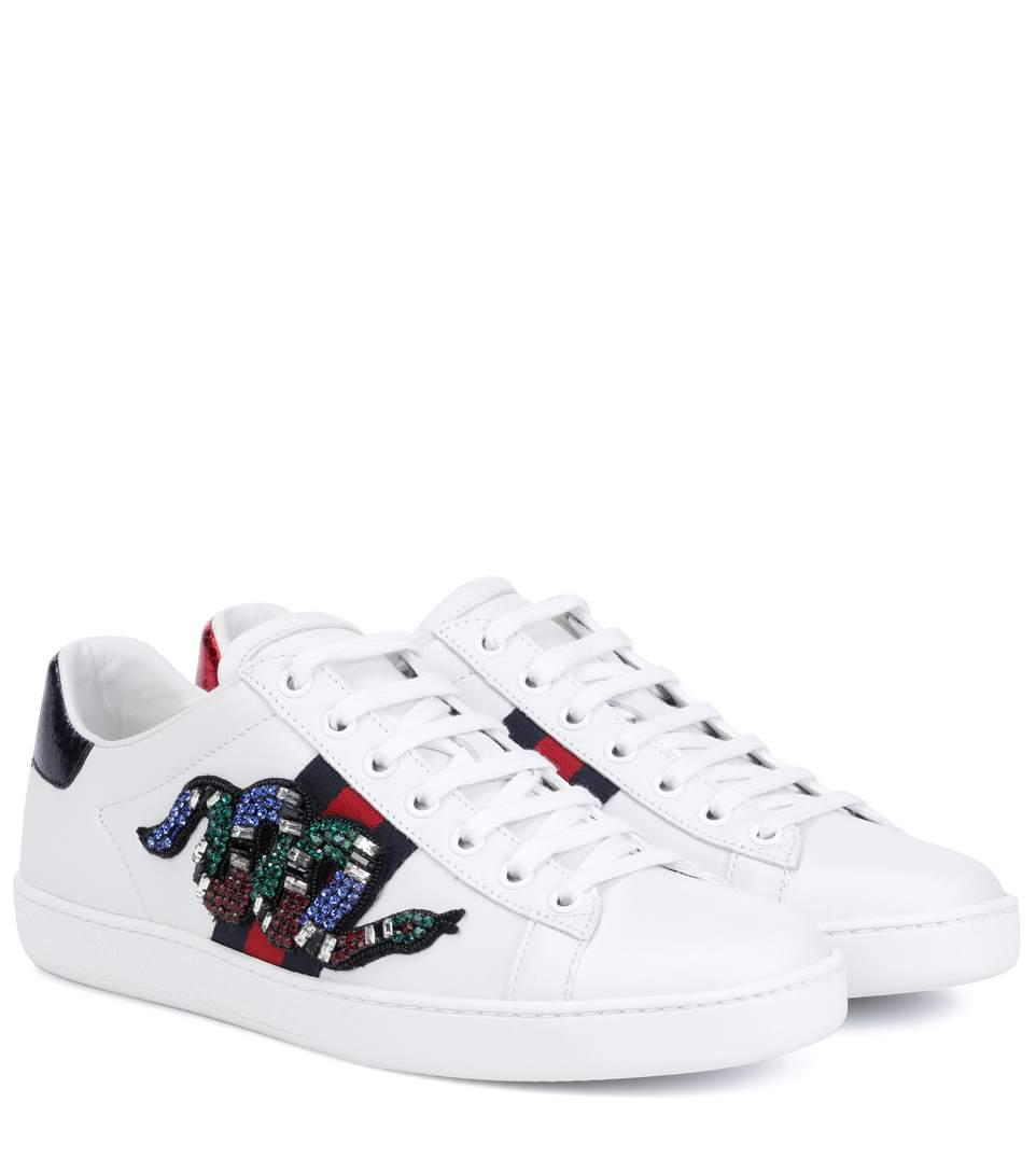 Gucci New Ace Crystal-Embroidered Snake Leather Low-Top Sneakers In White