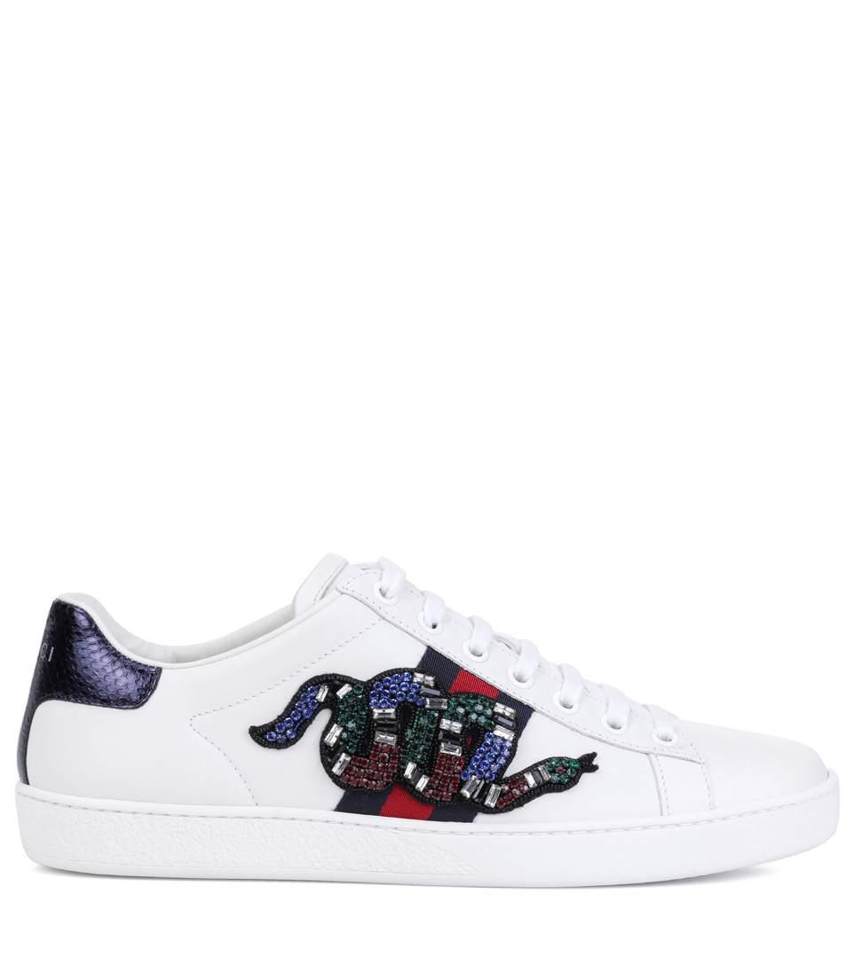 4b479e20c26 GUCCI. New Ace Crystal-Embroidered Snake Leather Low-Top Sneakers in White