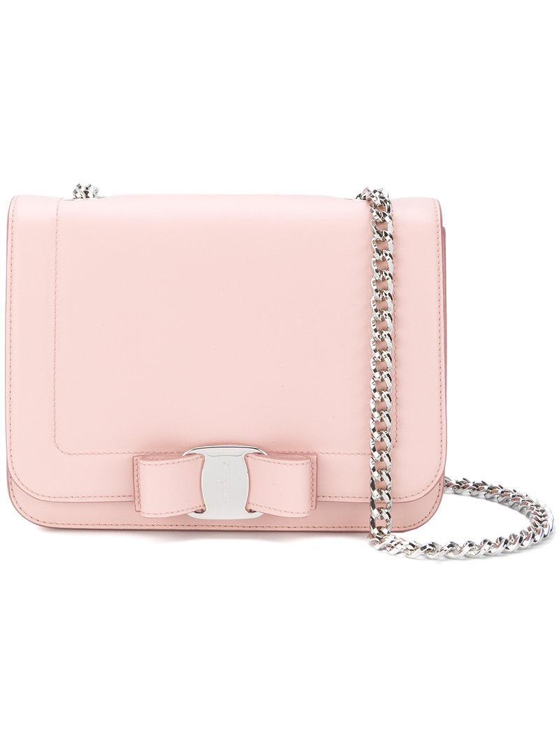 0084cca4f0f8 Salvatore Ferragamo Medium Vara Bow Leather Chain Bag In Pink