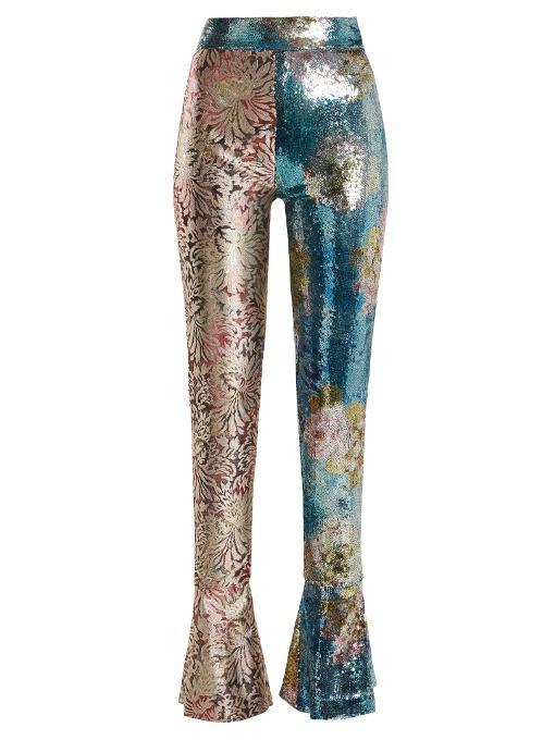 969de78b8ba Halpern Sequined Mixed-Pattern Straight-Leg Pants In Blue Multi ...