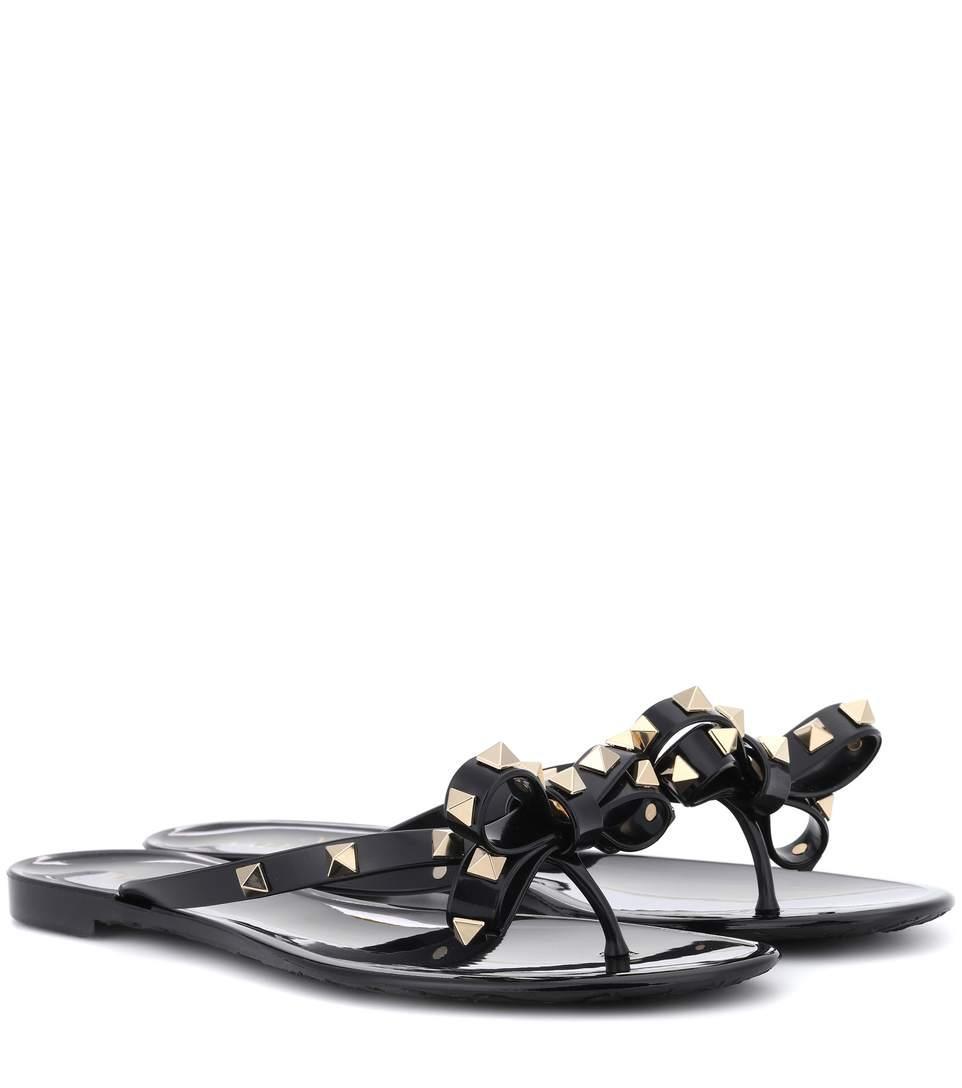 crazy price fantastic savings famous brand Garavani Rockstud Toe Post Flip-Flops in 0No - Black