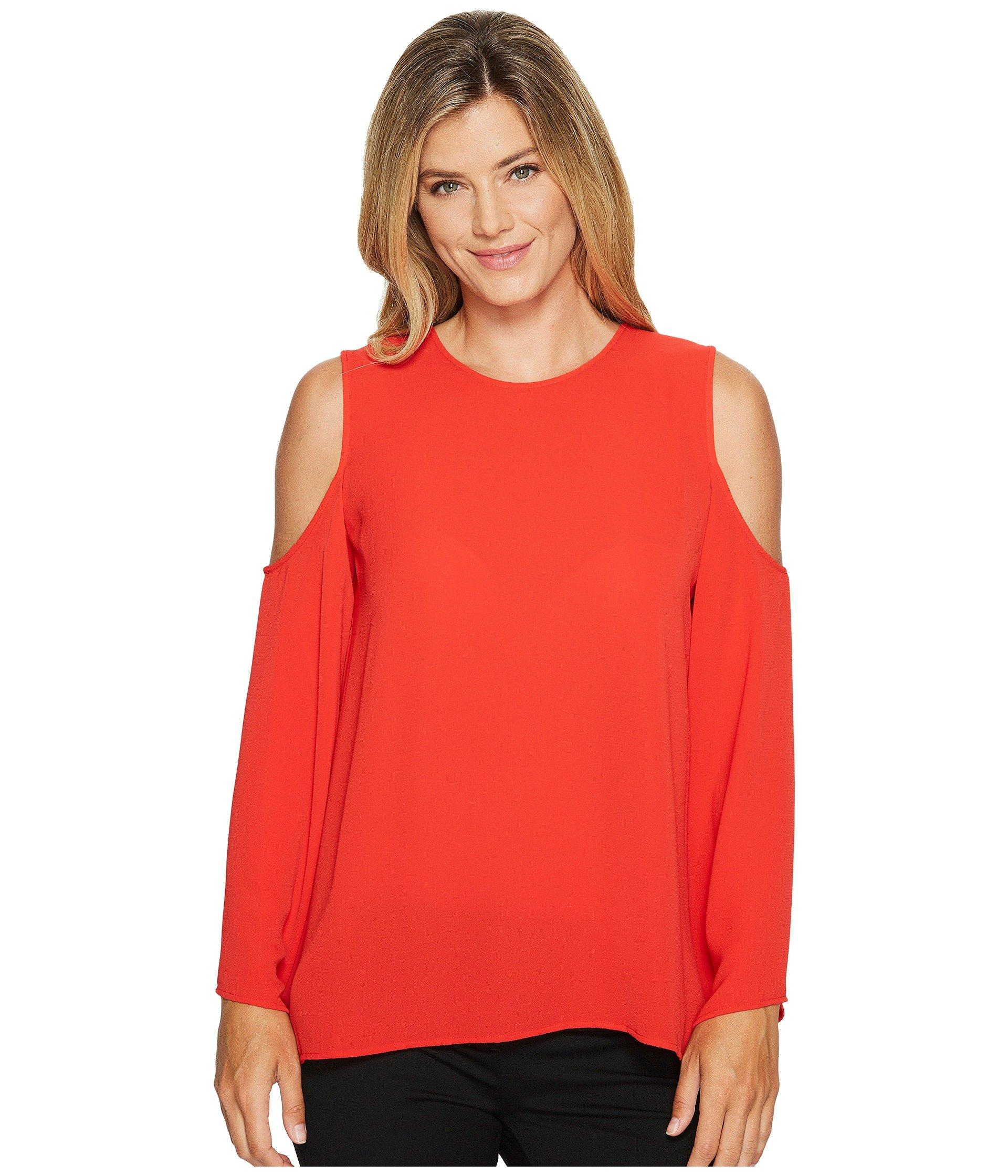 ded79c7e860d32 Vince Camuto Bell Sleeve Cold Shoulder Blouse In Bright Crimson ...