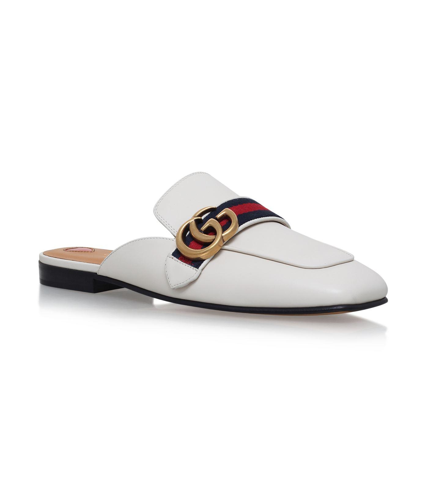 Gucci Logo-Embellished Leather Slippers In White