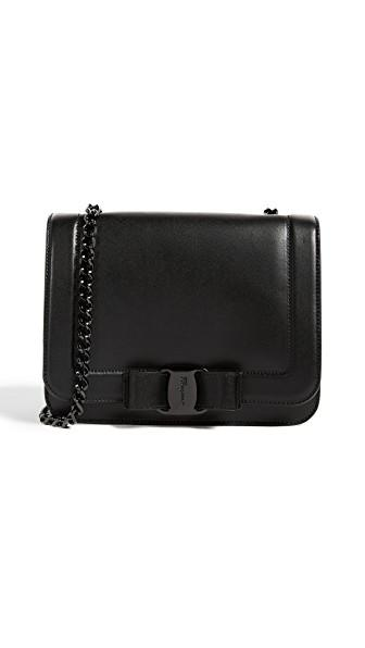 34fbf4494e Salvatore Ferragamo Women s Leather Cross-Body Messenger Shoulder Bag Vara  Rainbow In Black