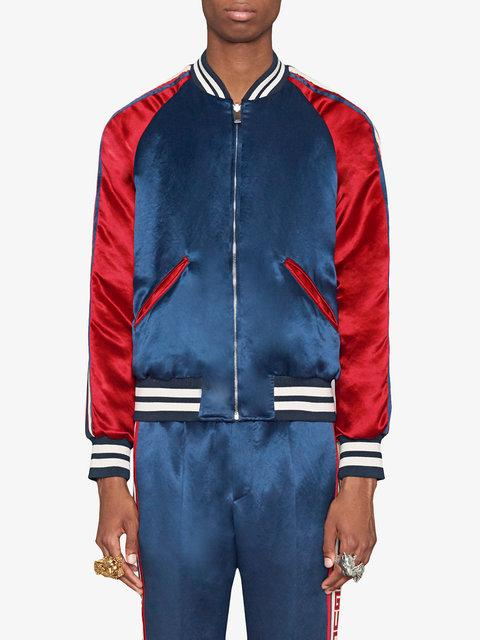 ce0a78754 Reversible Webbing-Trimmed Satin-Twill Bomber Jacket in Blue