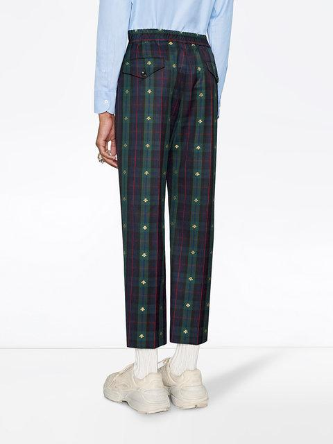902d92411cc Gucci Navy & Green Wool Check Bee Iconic Trousers In 4129 Casp ...