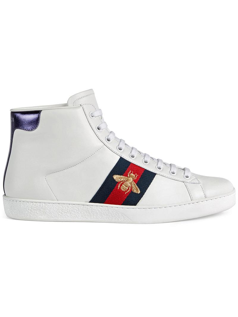 cb5172e50c8 Size. Store Status Price. Gucci Ace Bee-Embroidered High-Top Leather  Trainers In White