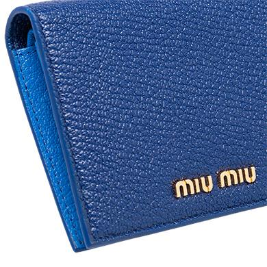 9941beb8c437 Miu Miu Single Color Madras Leather Wallet In Single Color Madras Leather  Wallet Ink Blue