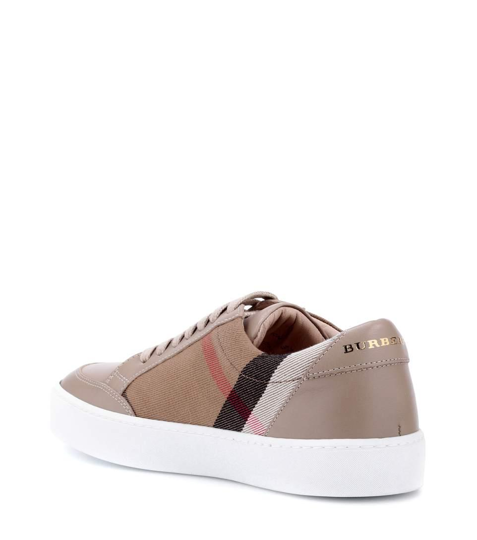 Burberry Salmond Check & Leather Low-Top Sneakers, Light Brown In Neutrals
