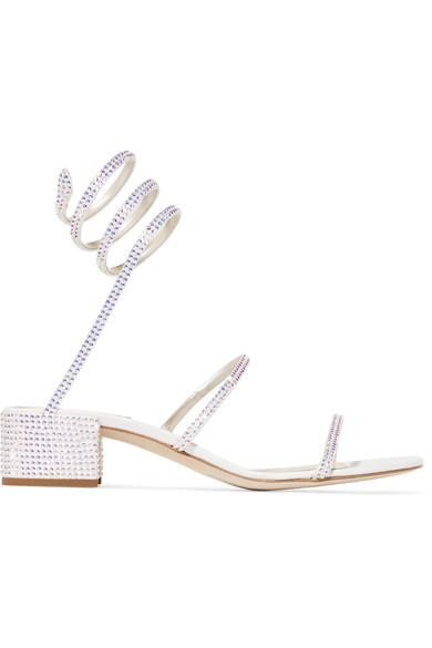 35447f377 RenÉ Caovilla Cleo Crystal-Embellished Satin And Leather Sandals In White