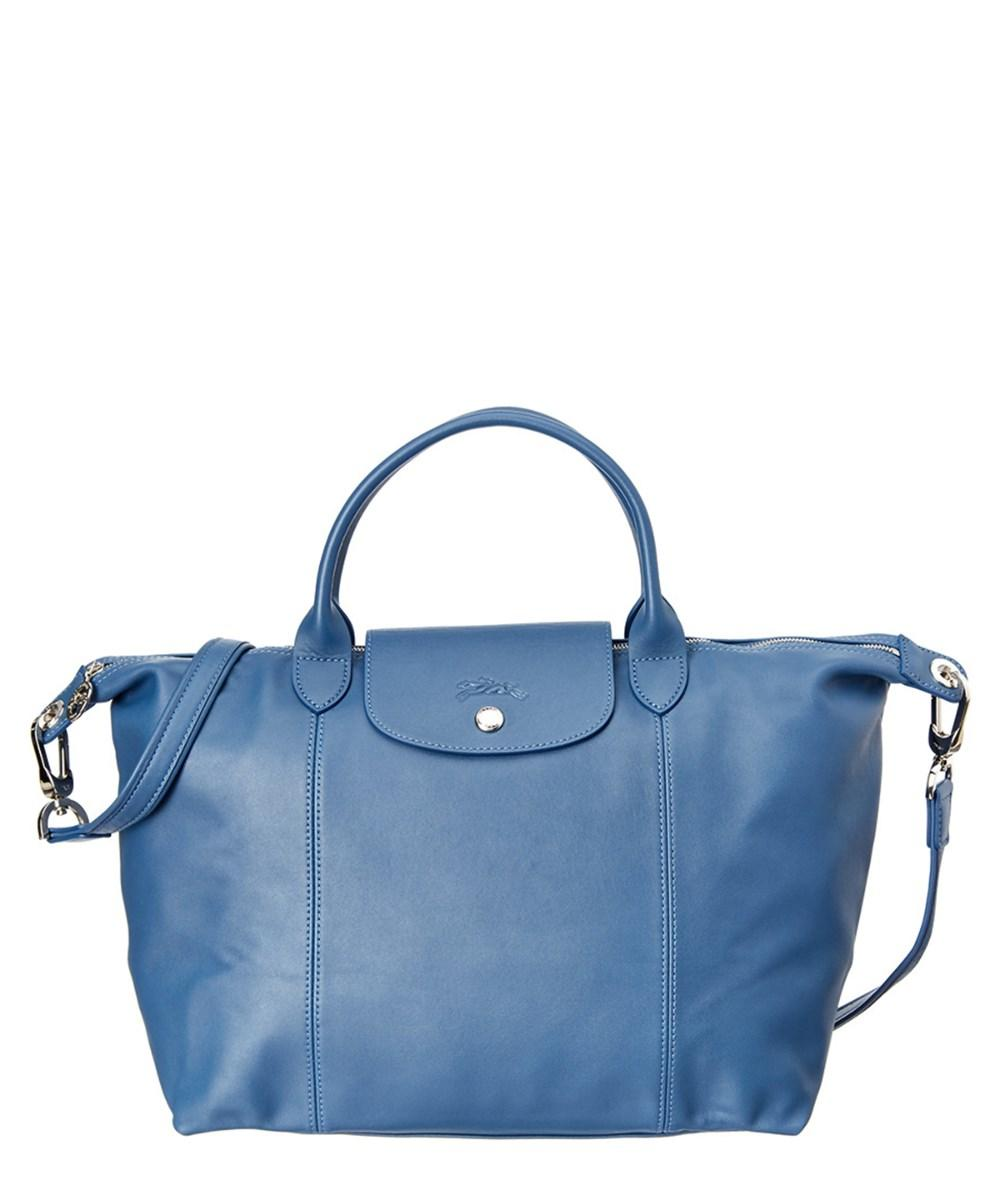Small 'le Pliage Cuir' Leather Top Handle Tote - Blue In Pilot Blue