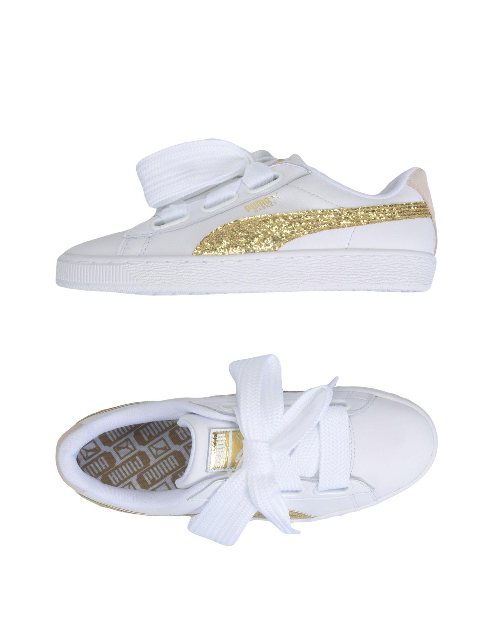 e860c4a670ba1b Puma Women s Basket Heart Glitter Casual Sneakers From Finish Line In White