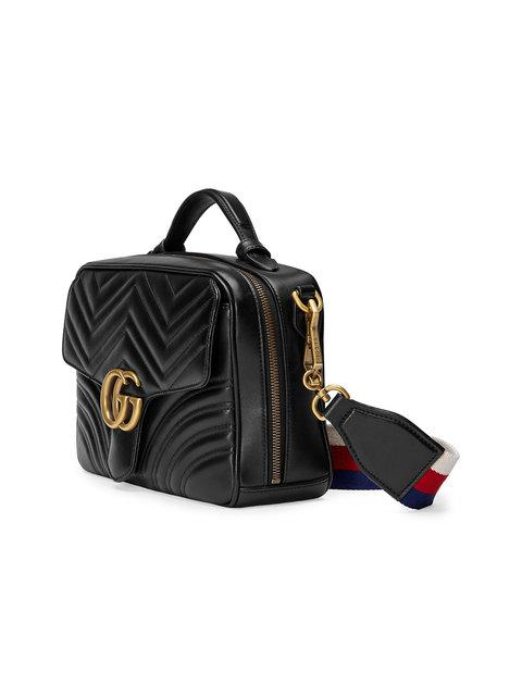 db631f4fc2d4 Gucci Gg Marmont Small Chevron Quilted Leather Top-Handle Camera Bag With  Web Strap In