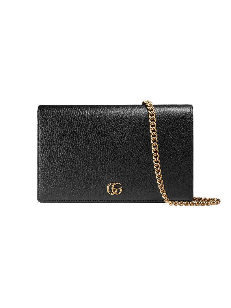 84f609e8564a Gucci Gg Marmont Leather Mini Chain Bag - Black In 1000 Black | ModeSens