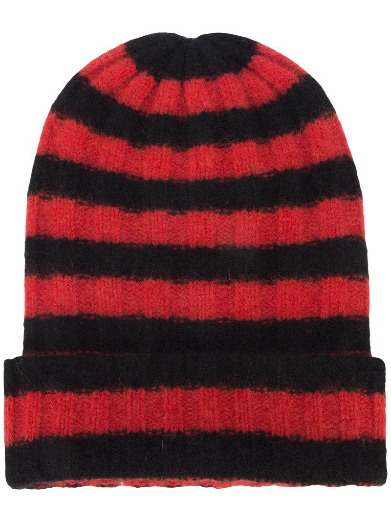 13a7bd568a6 The Elder Statesman Striped Cashmere Beanie - Red
