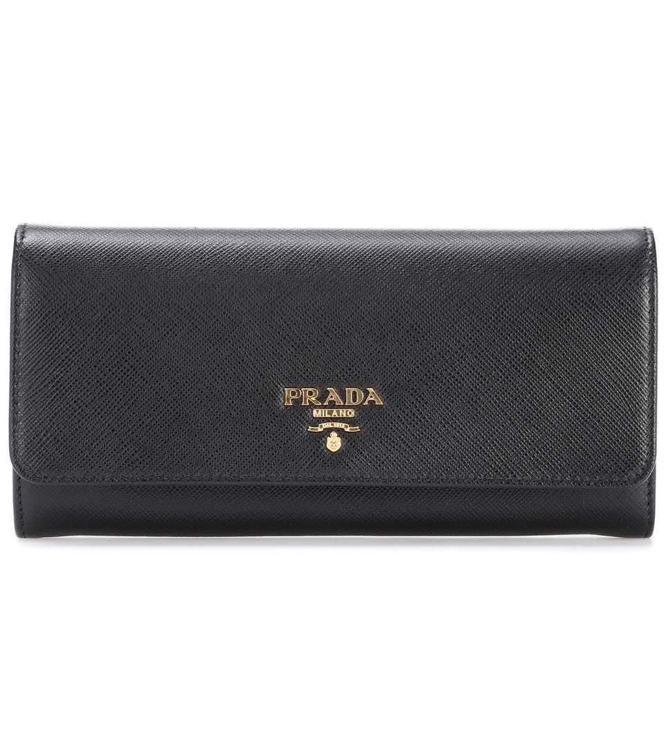 6b88aacc Saffiano Leather Continental Wallet With Removable Id Holder, Black (Nero)