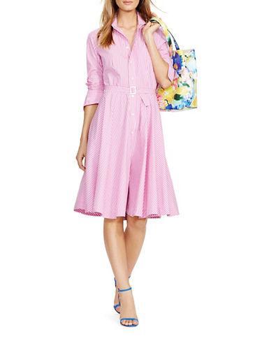 Polo Ralph Lauren Bengal-striped Shirt Dress-pink | ModeSens