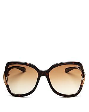 dcca2ef6f1b Tom Ford Anouk 60Mm Geometric Sunglasses - Dark Havana  Gradient Brown