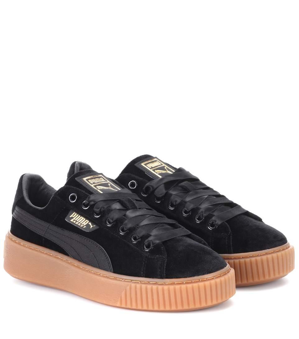 Basket Platform Velvet Sneakers In Black