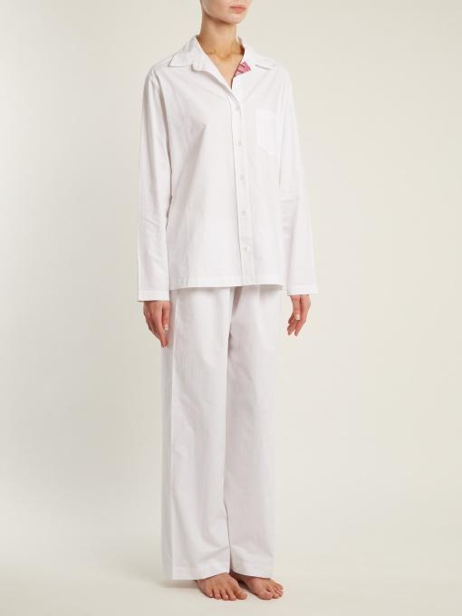 f830b9de06b Pour Les Femmes Floral-Print Cotton Pajama Set In White