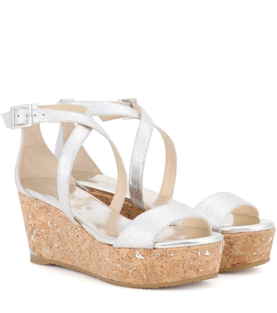 1be32cba65da Jimmy Choo Portia 70 Leather Platform Sandals In Silver
