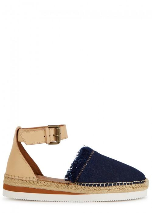 c3f470e81d6 See By ChloÉ See By Chloe Women s Leather   Denim Fringe Platform Sandals