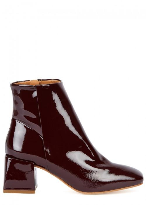 Loq Lazaro Patent Leather Ankle Boots In Burgundy Modesens