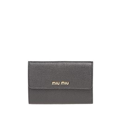 8cb0a193f595 Miu Miu Single Color Madras Leather Wallet In Black Fire Engine Red ...