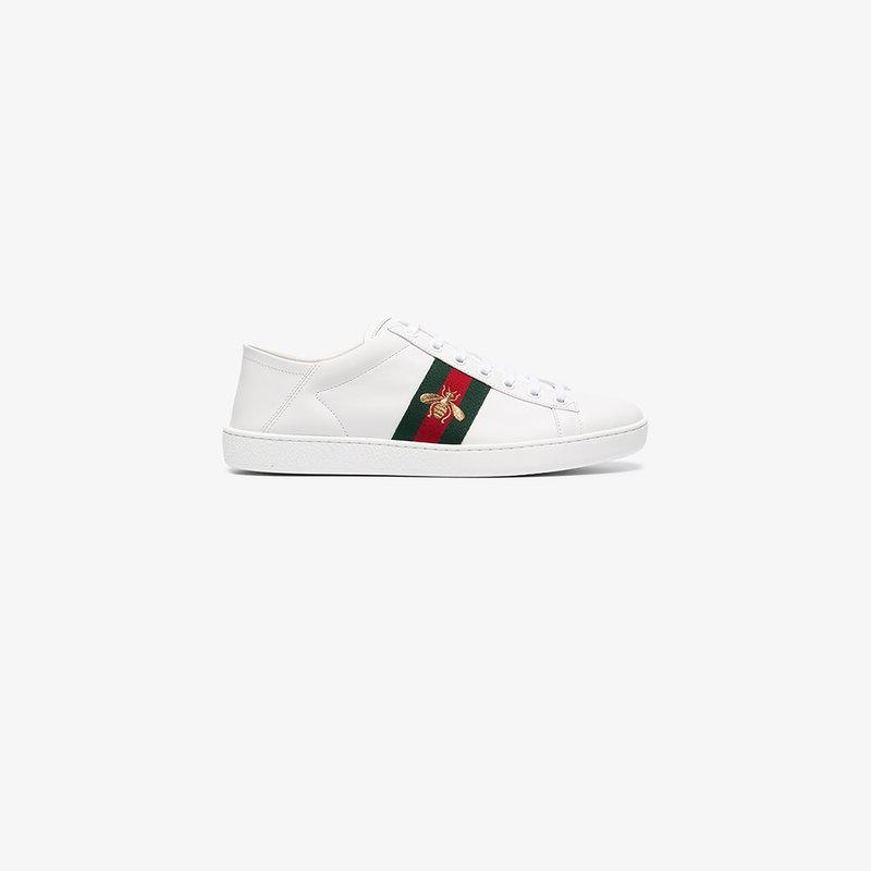 67f9eabd4da Gucci Ace Embroidered Leather Collapsible-Heel Sneakers In 9067 White Green