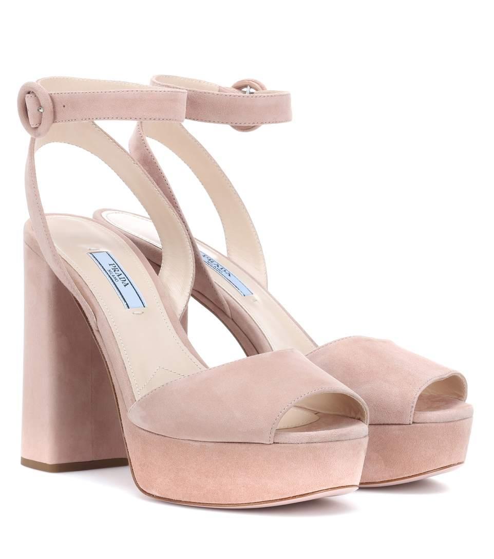 b379af27f2b Prada Suede Platform Sandals In Pink