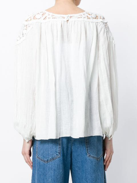 8d2934610b5014 ChloÉ Long-Sleeve Linen Cheesecloth Top W/ Lace Guipure In Cream ...