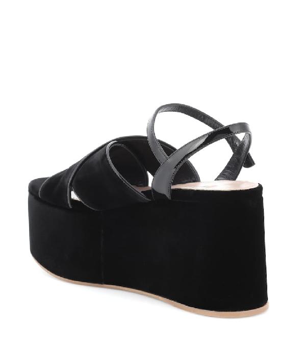 83a1d9222aef Miu Miu Crossover Velvet Flatform Sandals In Black