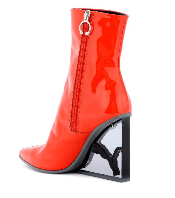 af9618f02534 Fenty X Puma Fenty Puma X Rihanna Women s Patent Leather Cat Wedge Booties  In Orange