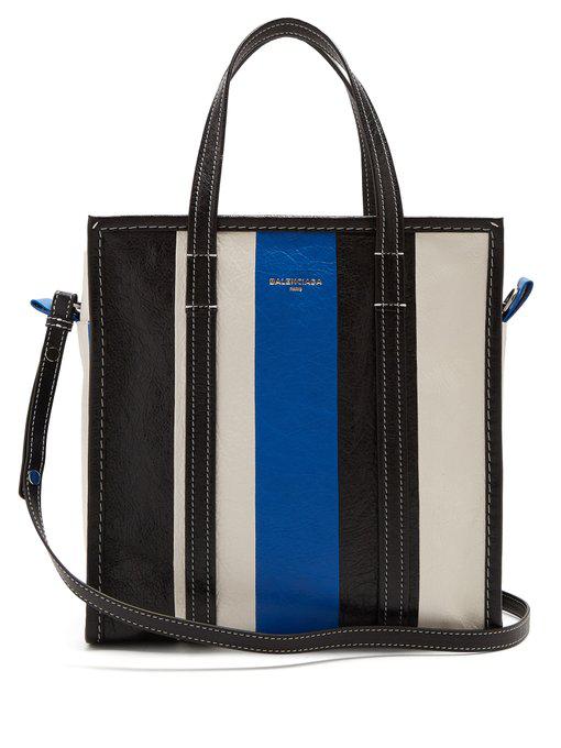 715c568b9 Balenciaga Bazar Medium Striped Leather Shopper Tote Bag, Green/White/Black  In Blue