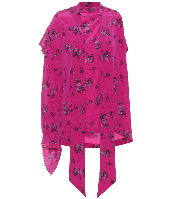 126052e37d69ad Balenciaga Asymmetric Printed Silk Crepe De Chine Blouse In Pink ...