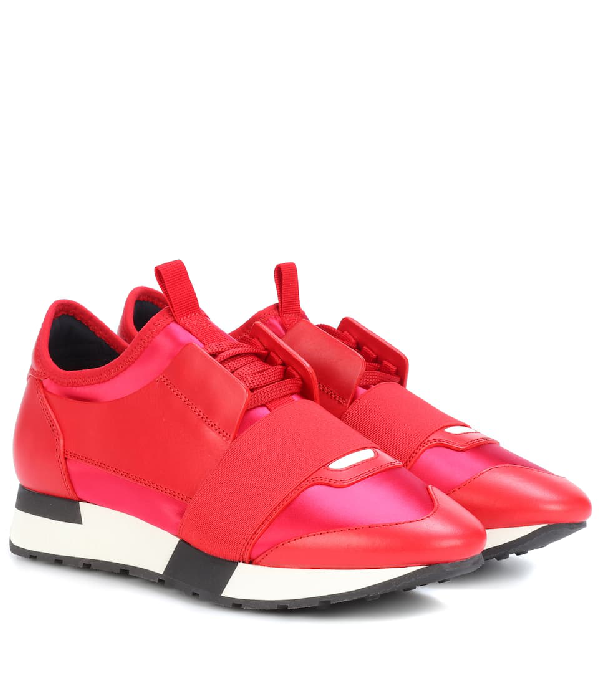 b943a82424 Balenciaga Race Runner Sneakers With Leather And Satin In Red | ModeSens