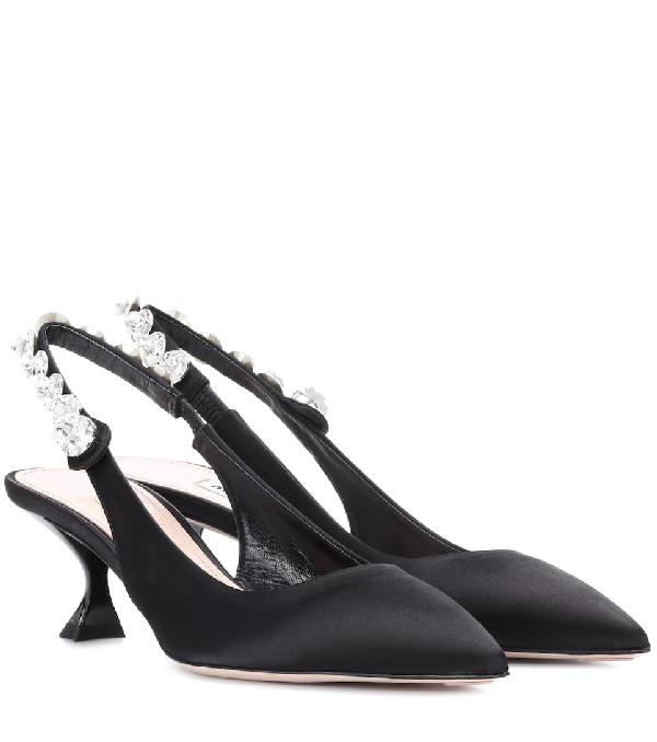 f54d0a881d2 Miu Miu Crystal Embellished Kitten Heel Slingback Pumps In Black ...