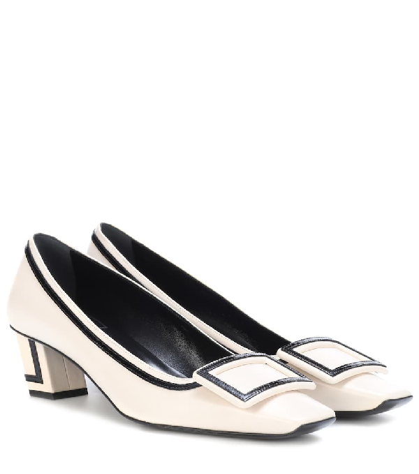 Roger Vivier Belle Vivier Graphic Patent-Trimmed Leather Pumps In White
