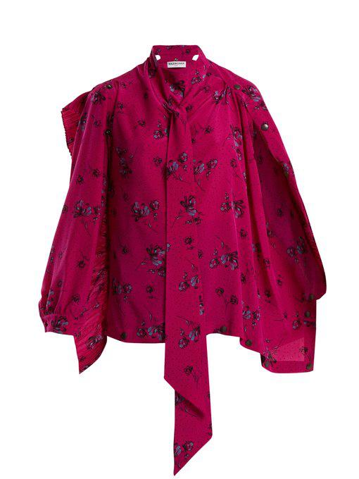 a3c33168b71d98 Balenciaga Pink Silk Crepe Printed Blouse In Pink Print