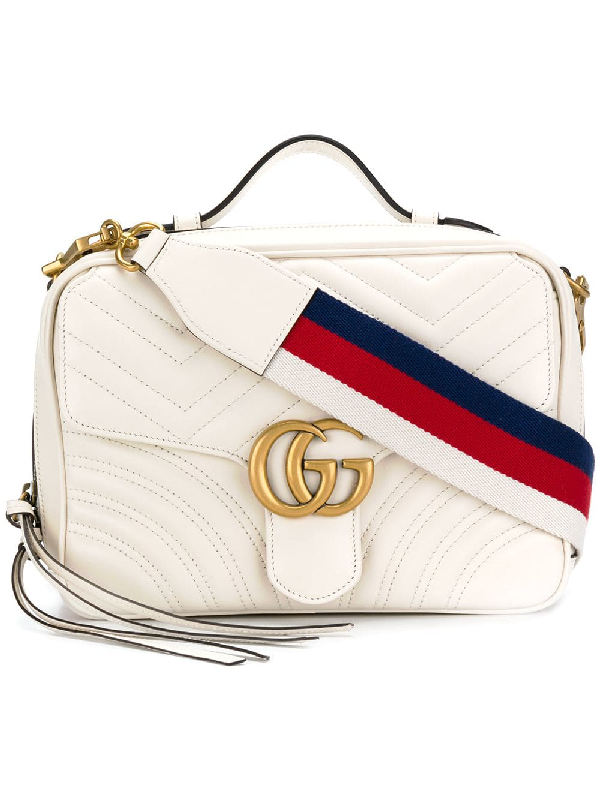 86f2968a9d5 Gucci Gg Marmont White Leather Shoulder Bag