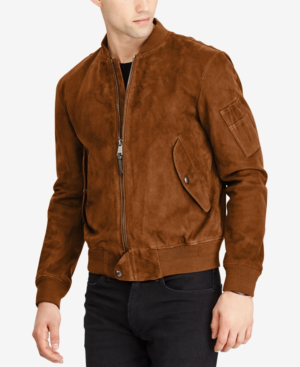 0a33b10801 Polo Ralph Lauren Slim-Fit Suede Bomber Jacket - Tan In Country Brown
