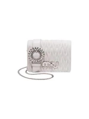 850a85916a36 Miu Miu My Miu Matelass Eacute  Leather Small Clutch Bag In White ...
