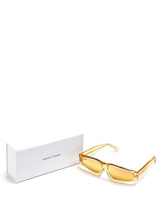 bc9ddd198034f Marques  Almeida Marques Almeida - Angular Frame Acetate Sunglasses -  Womens - Gold In