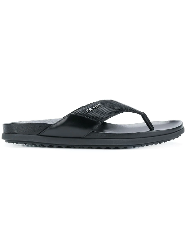 fd8123d701b1 Prada Nylon   Leather Flip Flops In F0002 Nero