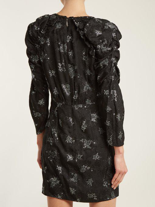 7c118edb Rebecca Taylor Glitter V-Neck Long-Sleeve Sheath Mini Dress In Black/Silver