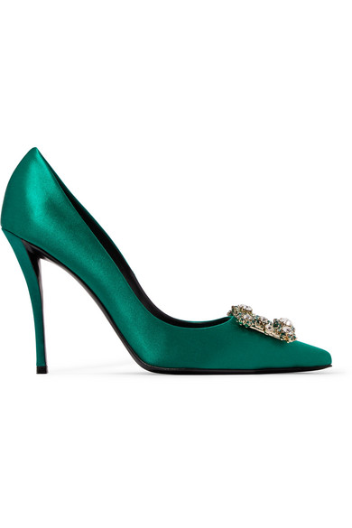 ROGER VIVIER FLOWER CRYSTAL-EMBELLISHED SATIN PUMPS