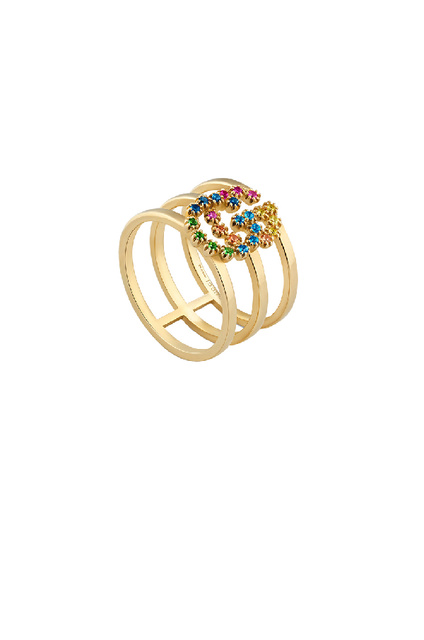 e12332045 Gucci Running G Three-Row Band Ring With Topaz & Sapphire In 18Kt ...