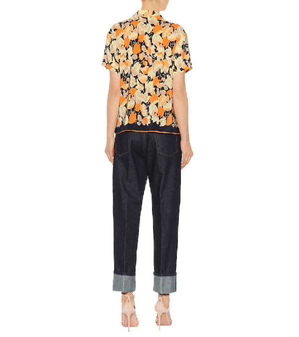 f1a7a03072 Dries Van Noten Floral Silk Pajama Shirt In Orange